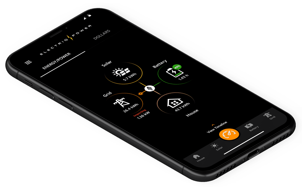 View of the Electriq Power mobile application on an iPhone X